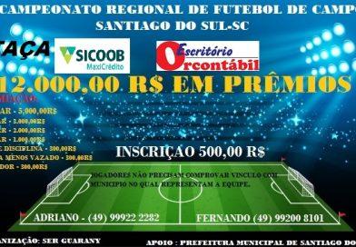 Estão abertas as inscrições para o VI Campeonato Regional de Futebol de Campo de Santiago do Sul