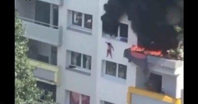 VÍDEO: Crianças saltam de prédio para escapar de incêndio