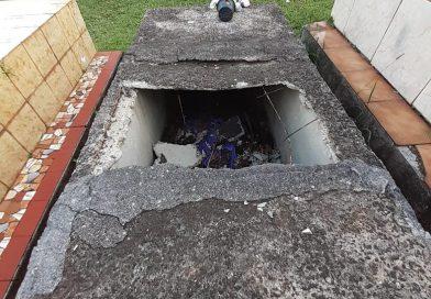 Atos de vandalismo no Cemitério Municipal no centro de São Lourenço do Oeste