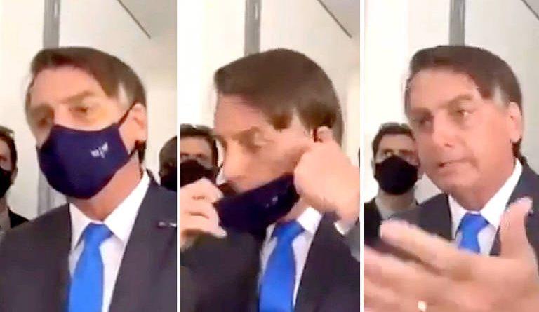 Furioso, Bolsonaro tira máscara, manda repórter e equipe calarem a boca, reclama da CNN e ataca a Globo
